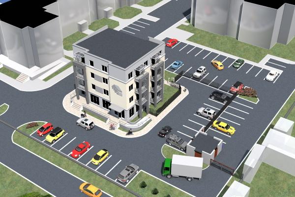 Wizualizacja nowego bloku wraz z parkingiem