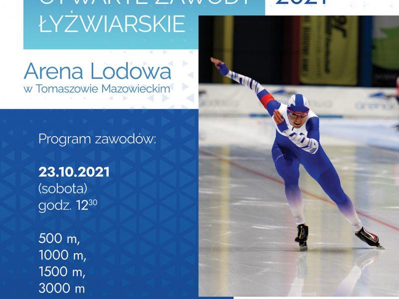 Na zdjęciu plakat Otwartych Zawodów Łyżwiarskich w Arenie Lodowej. na plakacie łyżwiarska podczas wyścigu w biało-fioletowym kostiumie
