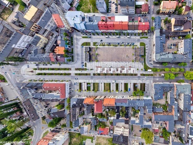 Na zdjęciu kwartał ulic Tomaszowa Mazowieckiego sfotografowany z lotu ptaka