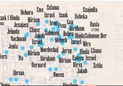 Na zdjęciu grafika przedstawiająca imiona dzieci żydowskich na tle planu tomaszowskiego getta