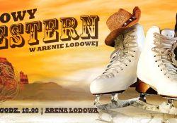 Baner imprezy Zimowy western w Arenie Lodowej. Na banerze para figurówek przystrojonych w kombojski kapelusz
