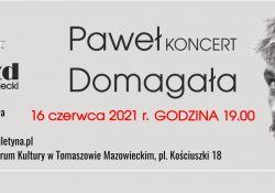 Na zdjęciu baner dotyczący zmiany terminu koncertu Pawła Domagały organizowanego przez MCK. Na banerze twarz wykonawcy (portretowe foto)